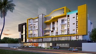 Devtraco Plus Ghana | The Edge front view night | Labone apartment for sale and rent